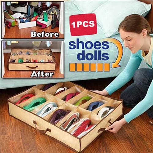 New 12 Pairs Shoes Storage Box Nonwoven Fabric Waterproof Folding Shoe Holder canvas shoe storage shoe organizer(China (Mainland))