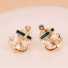 2016 New Fashion Women Girl Attractive Jewelry Gift 1 pair Crystal Rhinestone Sailor Anchor Ear Stud Earrings Gift