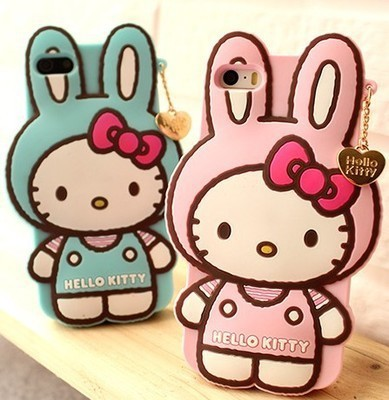 Cute lovely Catoon Hangtags Kitty Rabbits Soft Silicon Protective Back Cover Phone Case For Iphone 5 5S YC262(China (Mainland))