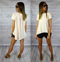 2015 New Women's Short-Sleeve Candy Color Shirt Female Chiffon Blouse Shirts Free Shipping