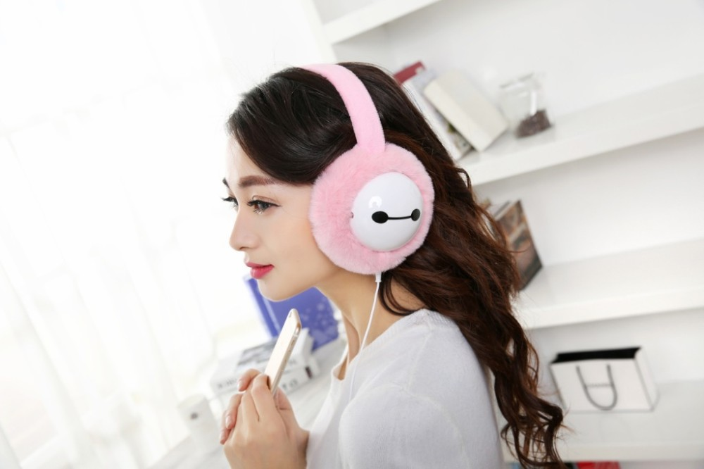 Plush headphones winter ear warmer earmuffs music Cartoon earmuffs Headphone for Girls