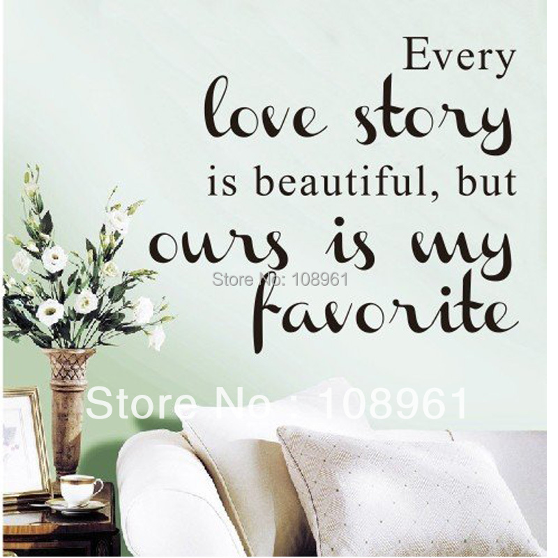 Every love story is beautuful art vinyl quotes and sayings for Home decor quotes on wall