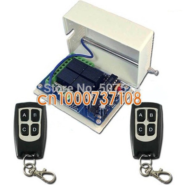 Free Shipping 10A relay DC12V 4CH RF Wireless Remote Control Relay Switch Security System Garage Doors, Electric Doors(China (Mainland))