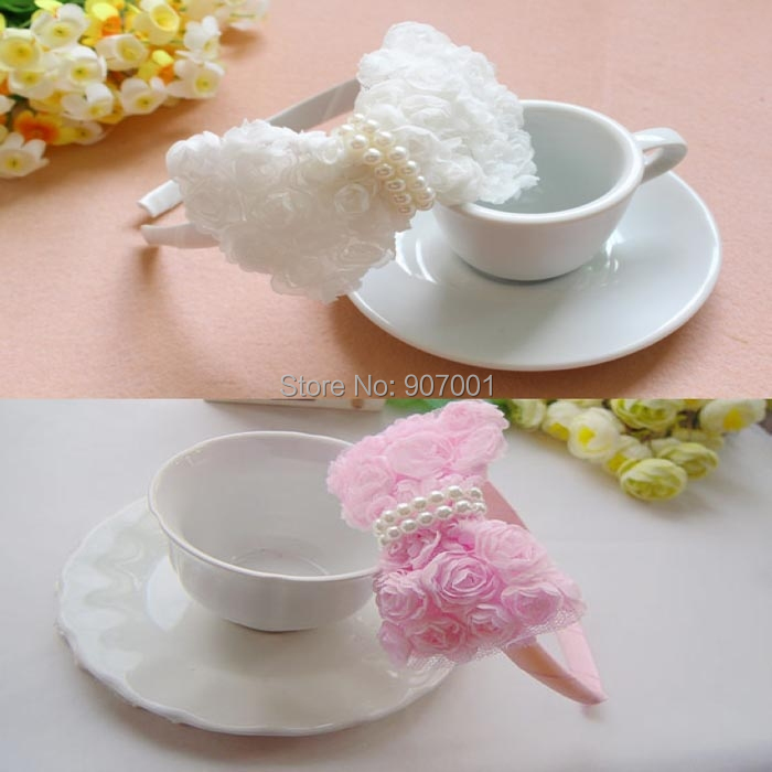 3 pcs/lot Infant Hair Accessory Flower Hairband Babies Pink/white Lace Hairband Toddler Baby Girls Felt Flower Headbands(China (Mainland))