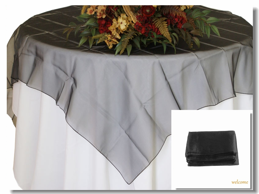 """Free Shipping 2014 New Black Organza Table Overlay Cloth 72"""" Square home decora Wedding Party holiday parties Supply Colors Hot(China (Mainland))"""