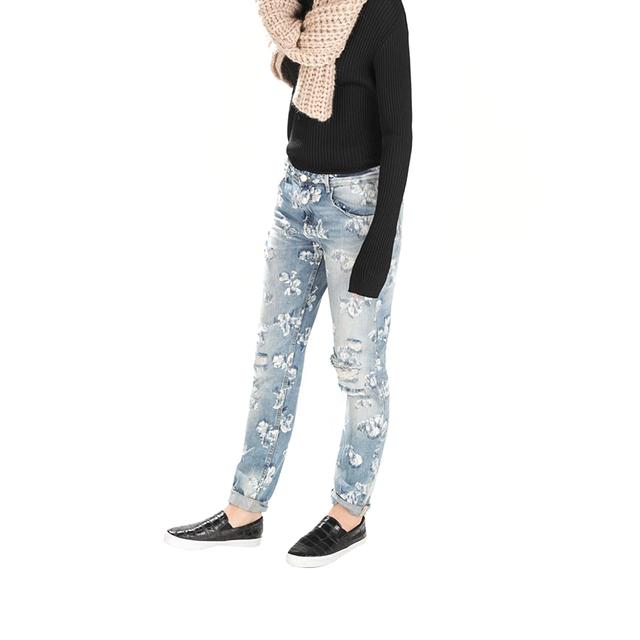 Fg12 Мода 2015 Женщин Элегантный Цветочный Принт Отверстия Джинсовый Ripped Джинсы ...