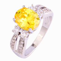 New Fashion Decent Yellow Citrine 925 Silver Ring Size 8 Wholesale Free Shipping For Unisex Jewelry