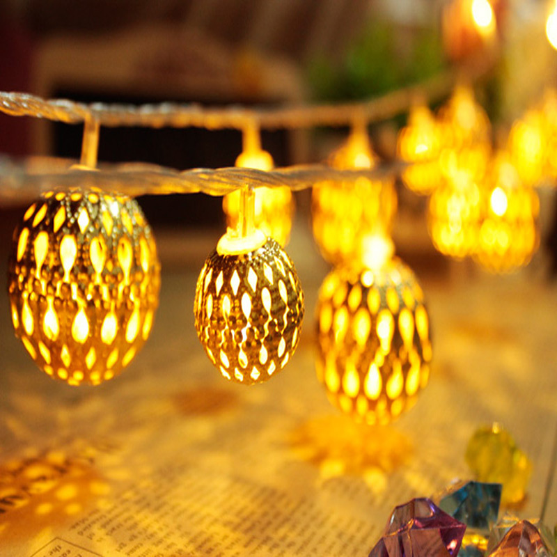 5m Christmas Lights 20 Iron Ball Goden Led String Lights Garland For Christmas Party Home Garden Decoration(China (Mainland))