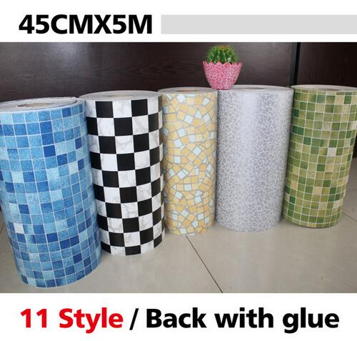 20165 Meters Vinyl PVC mosaic tile Self adhesive wallpaper for bathroom WC Anti Oil Waterproof wall stickers home decor roll(China (Mainland))