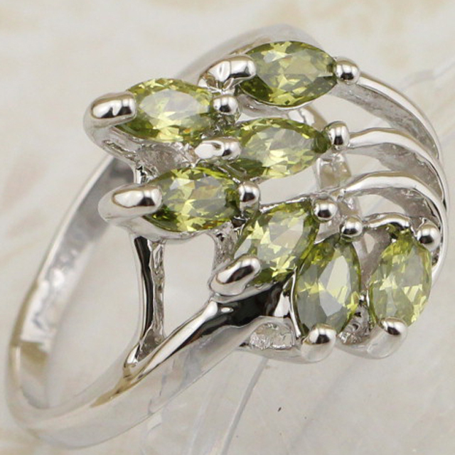 Size #5.5 #7 #8 #9 Hot Classy Crazy Green Peridot Ring Platinum Plated Jewelry Gift For Women MB090C(China (Mainland))