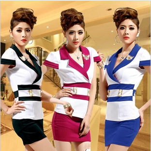 Гаджет  Stewardess outfit new uniform temptation stewardess Hotel KTV bath sauna technician stewardess overalls None Изготовление под заказ