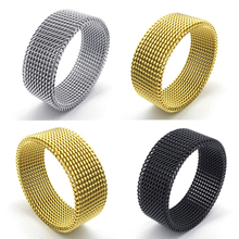 Free shipping 316L stainless steel wide 8MM black mesh rings retro punk gothic jewelry gift Silver Black Gold Ring fine jewelry