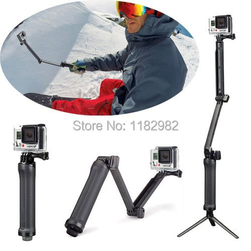 GoPro 3-Way Monopod Arm Mount Adjustable stand Bracket Handheld Grip 3 Way Tripods For Hero 4/3+ 3 SJ4000 SJ5000 Accessories(China (Mainland))