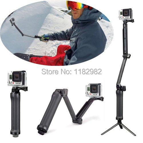 GoPro 3-Way Monopod Arm Mount Adjustable stand Bracket Handheld Grip 3 Way Tripods For Hero 4/3+ 3 SJ4000 SJ5000 Accessories(China (Mainland))