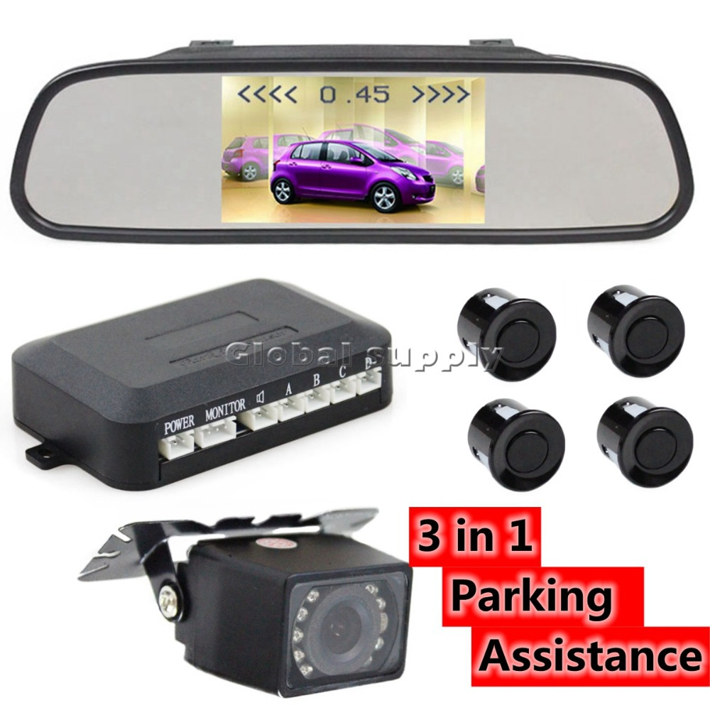 DIY 3 In 1 5inch HD Car Rearview Mirror Monitor + IR Rear View Reversing Camera + Video Parking Radar Sensor Kit(China (Mainland))
