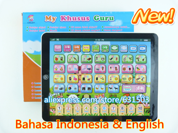 New arrivals Bahasa Indonesia and English pad learning toys educational toys laptop computer for the children(China (Mainland))