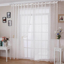 White flocked European style tulle customized finished curtain yarn for bedroom living room for balcony DS051#30(China (Mainland))