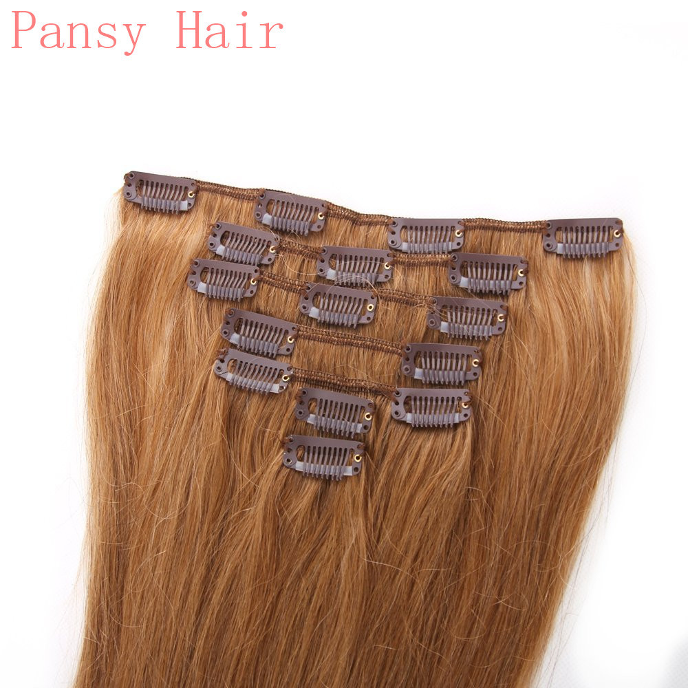 Remy Human Virgin Hair Straight Hairpieces Wigs Clip in Human Hair Extensions Full Head 15inch 18inch 20in 22in 12# Medium Brown
