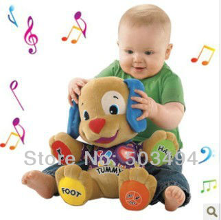 Retail 1 PCS Learning Musical Dog Educational Toy Puppy Plush Laugh and Learn Love to Play Free shipping