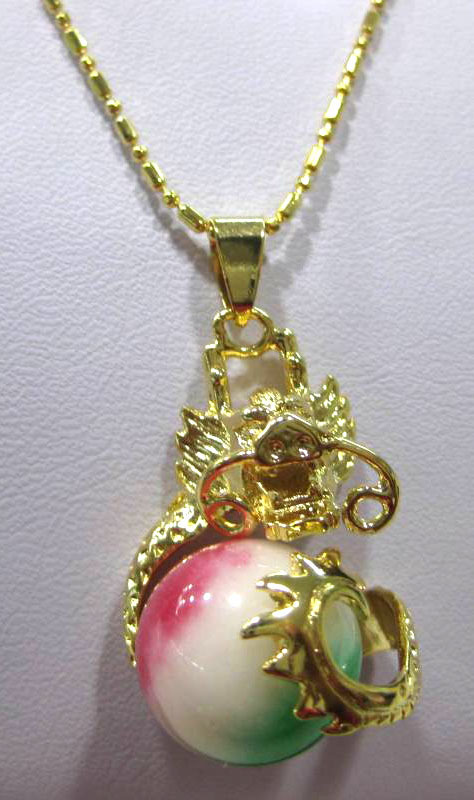 12mm colorful jade -red agate dragon pendant necklace(China (Mainland))