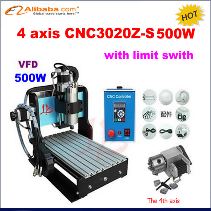 HOT SALE! mini desktop cnc router 3020 Z-S 4 axis 500W with limit swith ,cnc drill engraving carving machine for metal wood(China (Mainland))