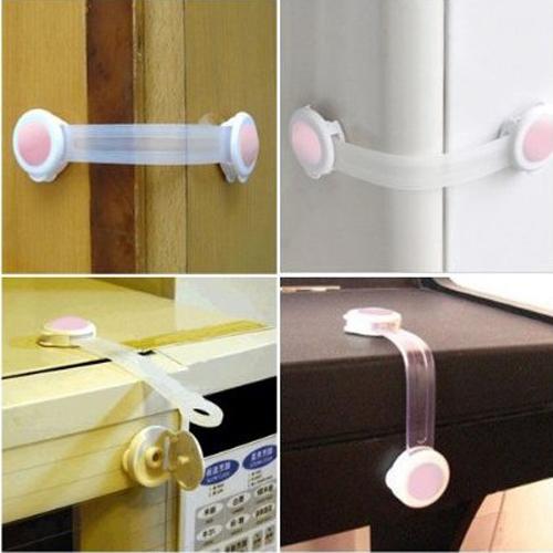 2 x Babysafe UNIVERSAL Adhesive Cabinet Door Cupboard Fridge Drawer Infant Child Kid Lock Safety Pink/Blue
