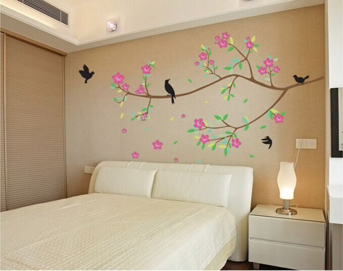 Branch Tree Bird Flower Removable PVC Vinyl Decal Home Decor for Living Room Window Bedroom Bathroom Tile Wall Stickers Mural(China (Mainland))