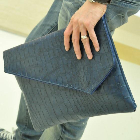 2016 Men's Bag Clutch Fashion Crocodile Pattern Leather Handbag Business Case Envelope Bag Folder / Briefcase A4 Hot Blue(China (Mainland))