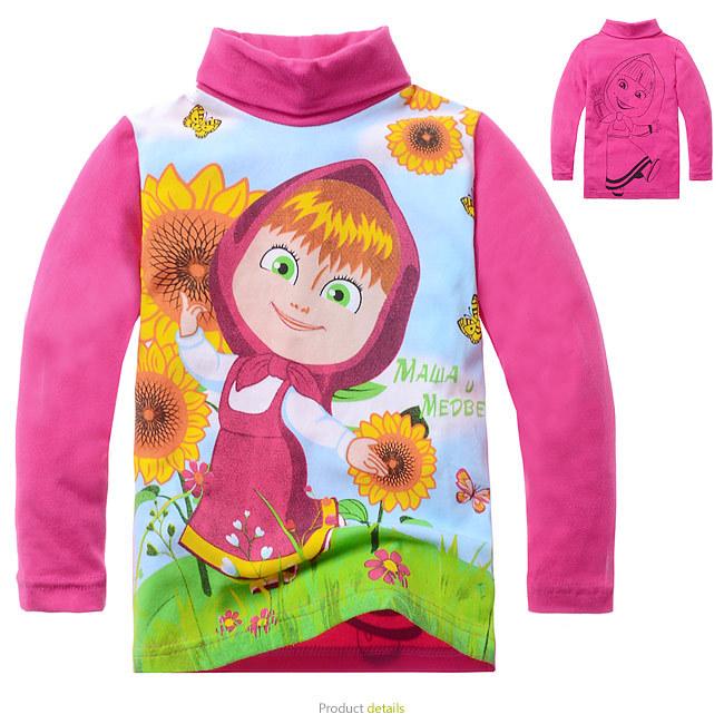 2-8Yrs Girls Long Sleeve turtleneck childrens T Shirts Kids Cartoon Pretty Cotton Red Bottoming shirt 6pcs/lot Free Shipping(China (Mainland))