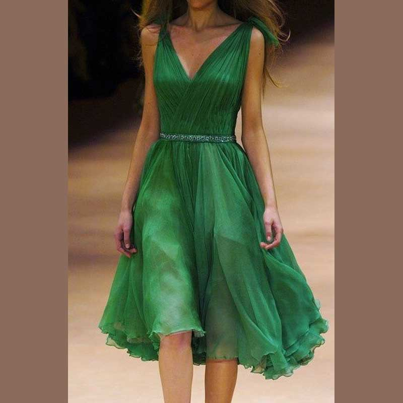 elegant green short cocktail dresses 2016 v neck sleeveless chiffon simple women prom gown for coctel party vestido(China (Mainland))