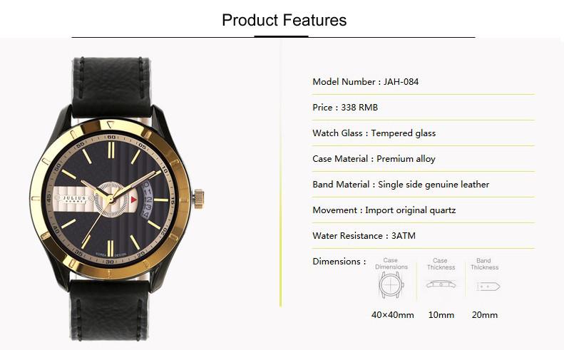 Julius Homme Men's Watch Japan Quartz Hours Clock Fashion Dress Bracelet Leather Boy Birthday Christmas Valentine Gift Box 084