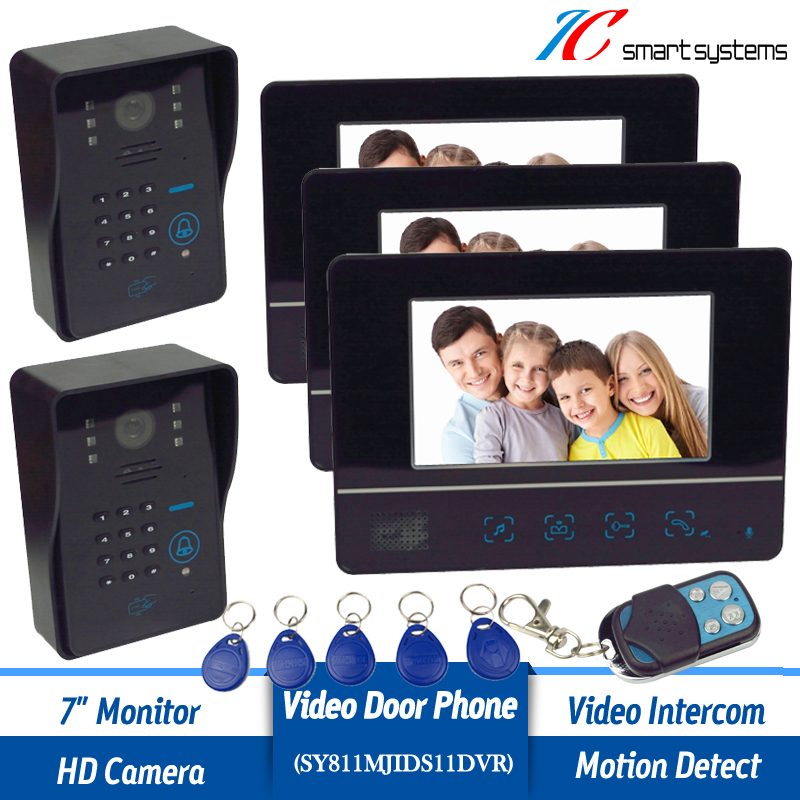 Luxurious 7 inch wired video door phone with 3 monitors and 2 cameras designed for villa<br><br>Aliexpress
