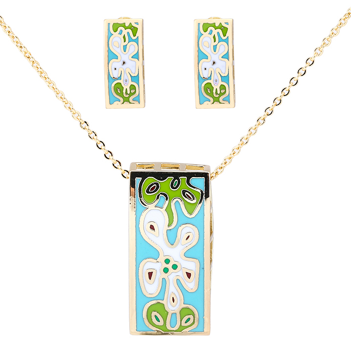 Fashion Necklaces &Earrings For Women 2016 Vintage Dubai Party Jewellery Sets 18K Gold-Plated Enamel Rectangles Pendant Necklace(China (Mainland))
