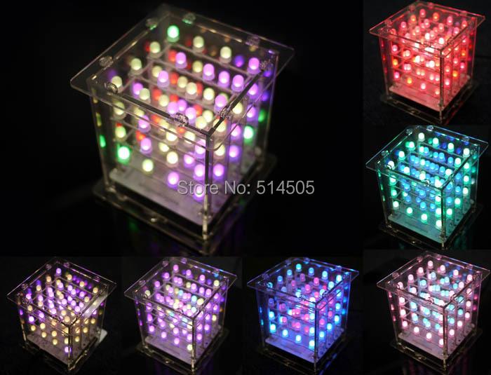 Rainbow Cube kit- RGB 4X4X4 (Rainbowduino v3.0) 5mm RGB LEDs Assembly Version(China (Mainland))