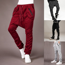 2015 New Fashion Mens Jogger Pants Men Loose Hip Hop Harem Joggers Cotton Solid Comfort Casual