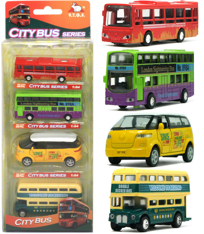 4PCS/Set Mini 1:64 Colorful City Bus Scale Metal Car Model Diecast Pull-Back Vehicle Kids Pocket Toys Collection Best Gift(China (Mainland))