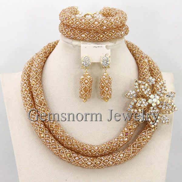 Luxury Dubai Gold Bridal Jewelry Set African Beads Costume Jewelry Set African Fashion Jewelry Set for Women Free Shipping WB155(China (Mainland))