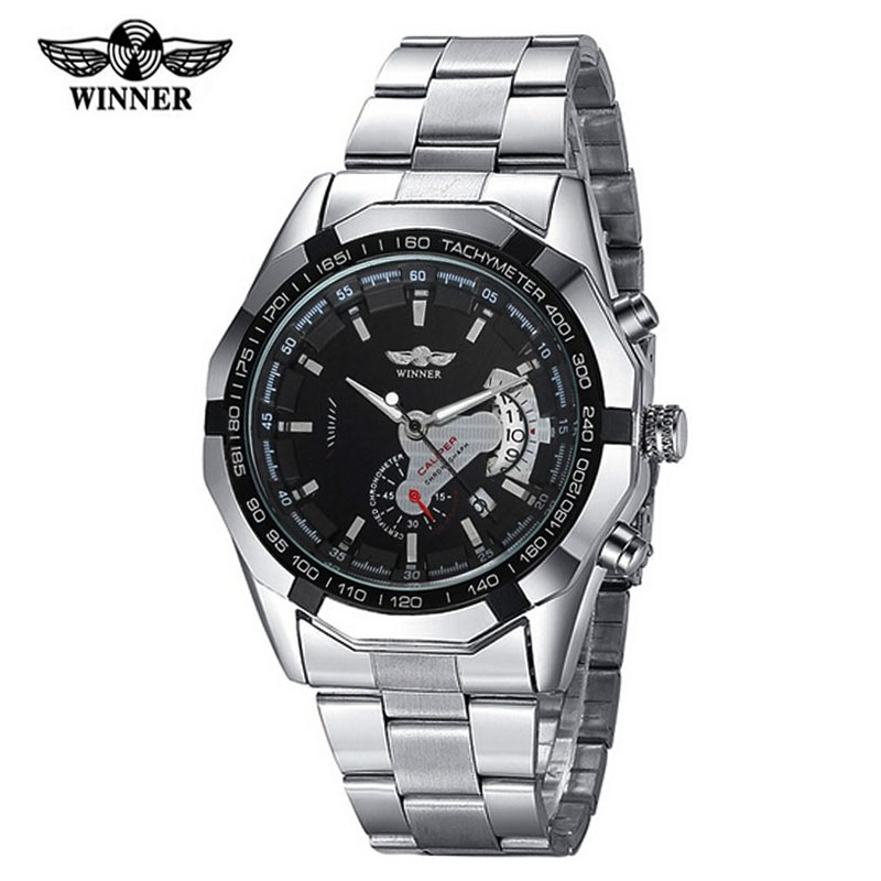 Luxury Brand Winner Watches Men Stainless Steel Automatic Mechanical Men s Watch Auto Date Small Seconds