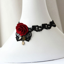Handmade Womens Sexy Red Flower Rose Leaf Bronze Black Lace Choker Collar Short Necklace Gothic Party Cosplay Fashion Accessory