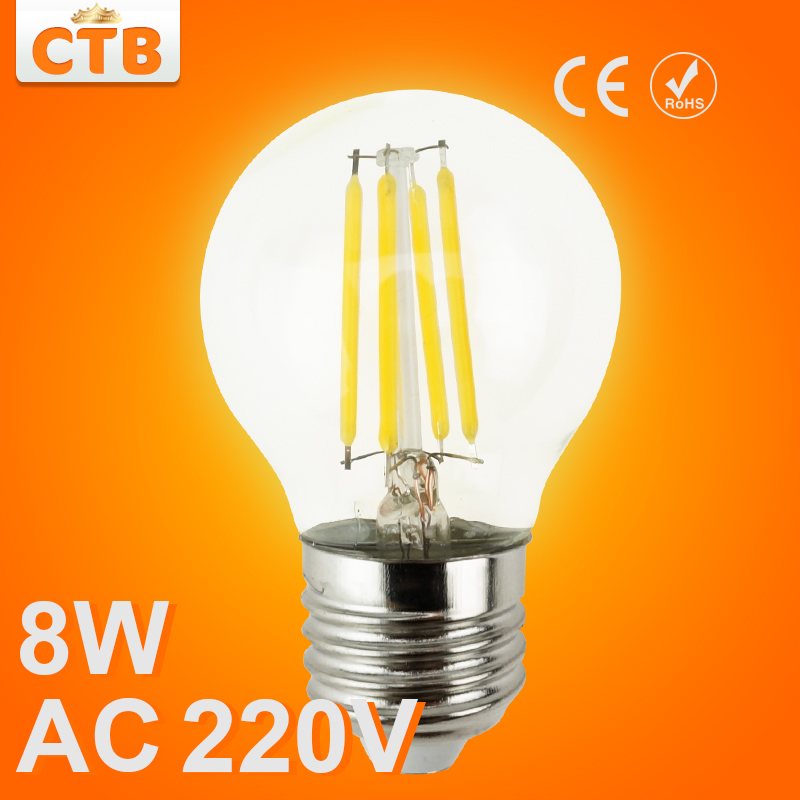 LED Bulb E27 E14 Filament Light Glass Bulb G45 220V 240V 4W 8W Lamp Antique Retro Vintage Edison Led(China (Mainland))