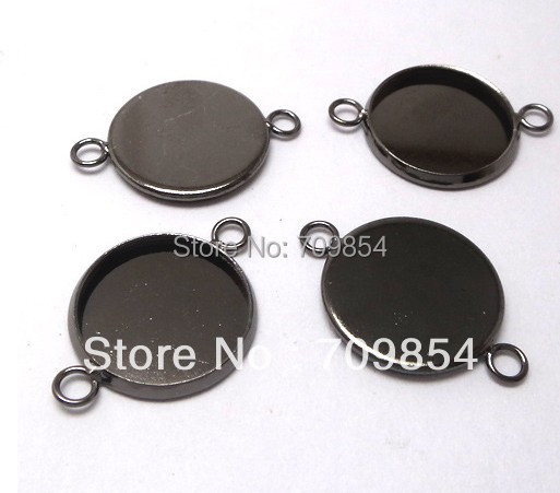 free shipping!!! 500pcs/lot 16mm pad black gunmetal cabochon settings pendant trays jewelry findings<br><br>Aliexpress
