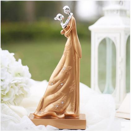 couple doux lgante or gteau de mariage topper figurines marie et le mari gteau de mariage - Figurine Mariage Personnalise