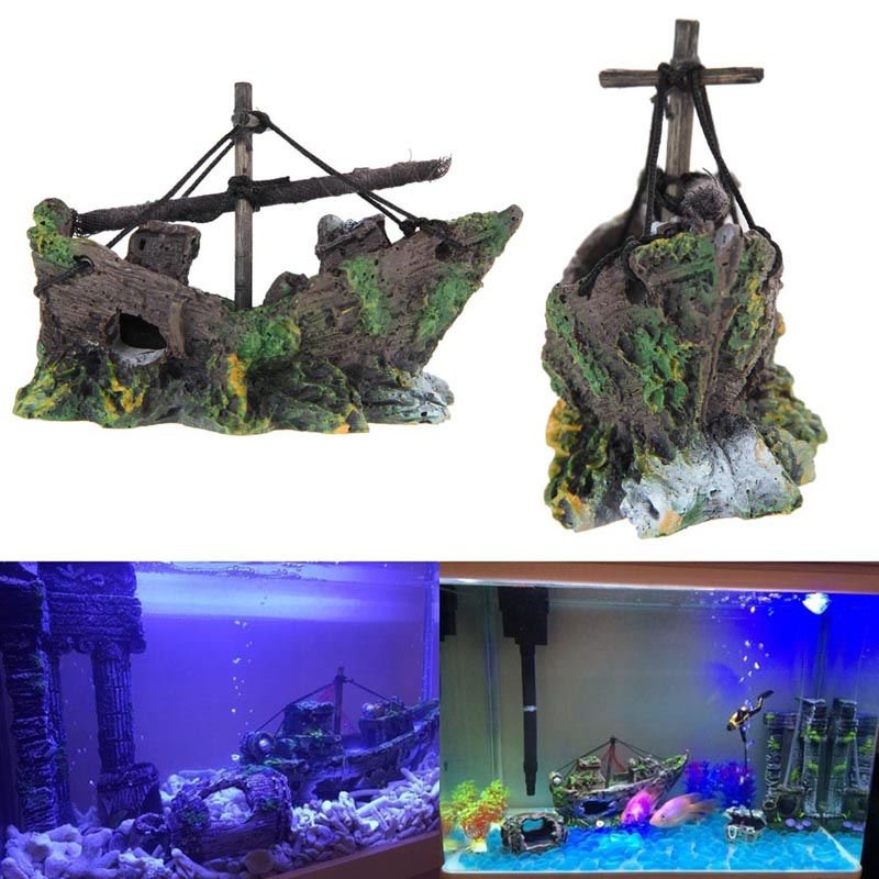 Fish tank decoration cave decor sailing boat shipwreck for Ship decor home