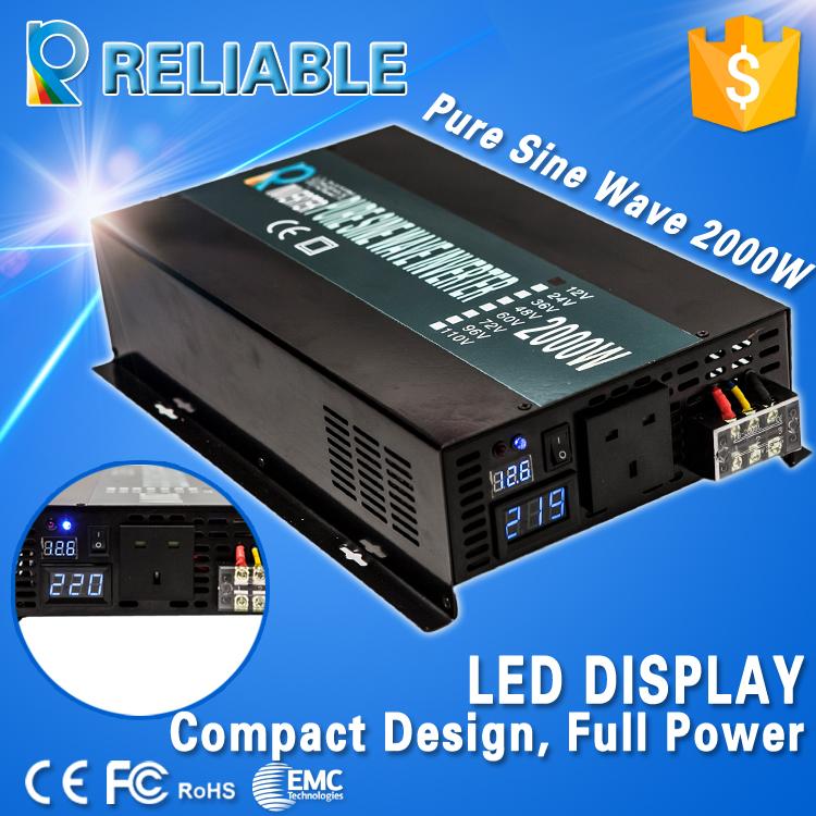 4000W Peak 2000W LED Display Off Grid Pure Sine Wave Power Solar Inverter 12V 120V DC AC Converter For Refrigerators/Television(China (Mainland))