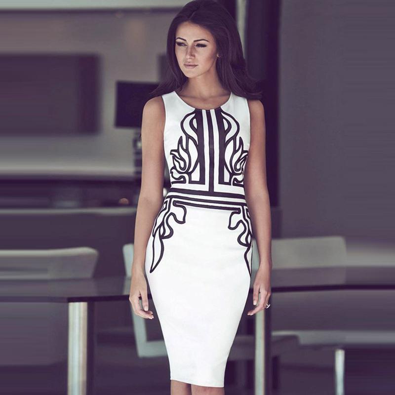 RH70153 Elegant dresses business casual fashion style hot sale print women midi dresses sleeveless o neck white summer dress(China (Mainland))