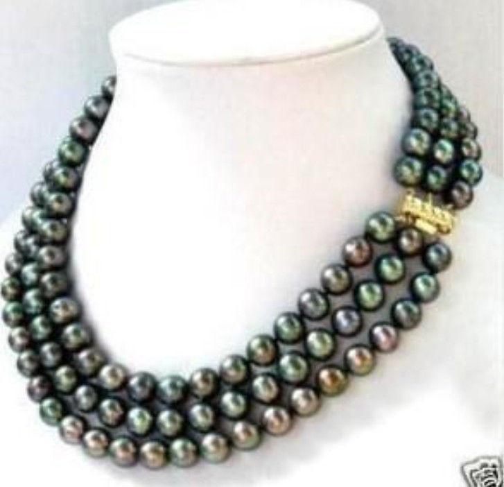 2015 Fashion jewelry 3 row 7-8MM Black akoya Pearl Necklace Rope Chain Beads Jasper Jewelry Natural Stone (Minimum Order1)(China (Mainland))