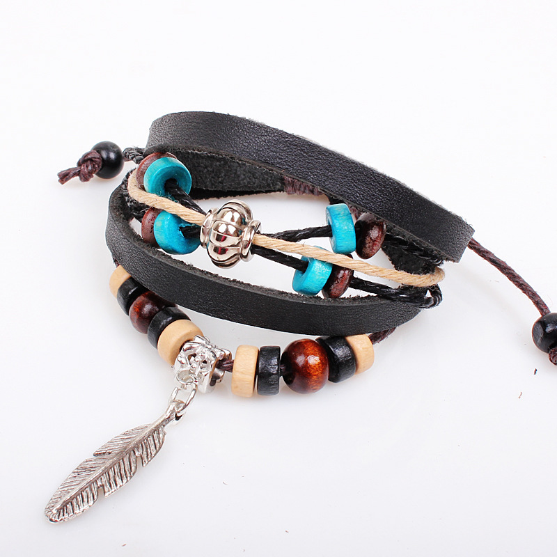 Indian style wooden bead bracelet leather feather jewelry best selling jewelry wholesale jewelry in Europe and America(China (Mainland))
