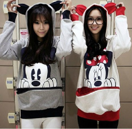 EAST KNITTING AS-063 Women loose plus size outerwear mouse Hoodies Ladys sweatshirt Lovely Animal Ear Pullovers(China (Mainland))