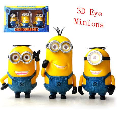 3шт / комплект гадкий я 2 фильмы 7 - 11 см милый 3D глаз миньоны цифры модель игрушки кукла коллекция, Лучшие подарки для детей, В коробка