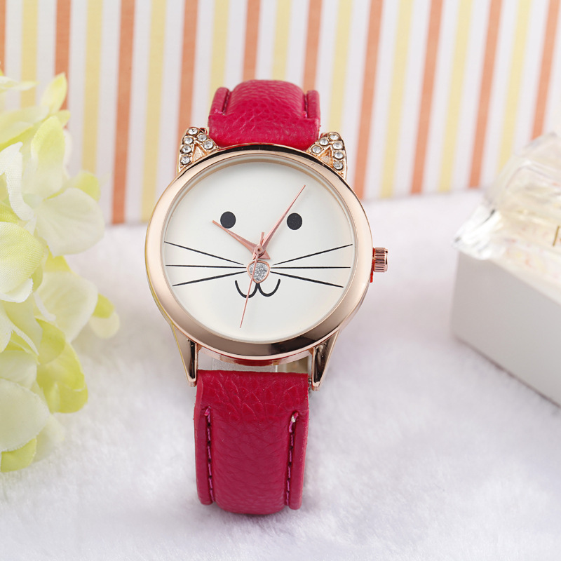Resuli Fashion Neutral Diamond Lovely Cats Face Faux Leather Quartz Watch wristwatch Gift Boxes Freeshipping&Wholesale(China (Mainland))